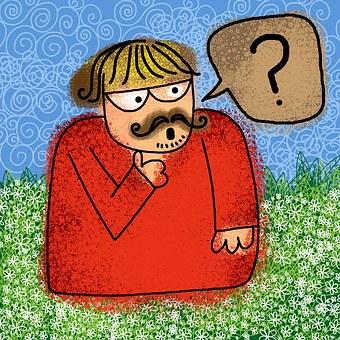Cartoon Man practicing pronunciation
